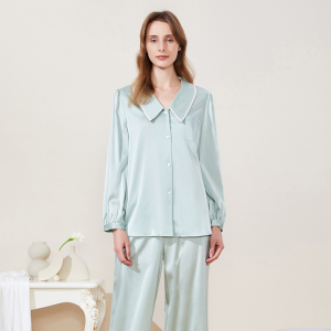 Two-Piece 19 Momme Silk Pajama Set, 100% Silk Sleep wear, Washable Mulberry Silk Loungewear Set
