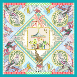 """Wonderful Garden"" Double-sided Printing 19 Momme Silk Twill Scarf"