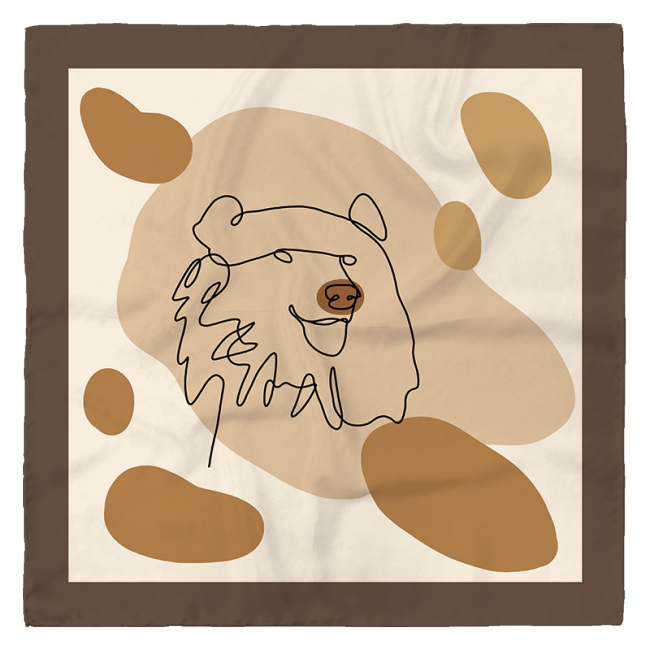 Coffee Bear Design Small Silk Square Scarf