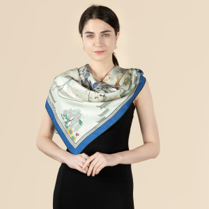 Mountains And Rivers Double Printing 19 Momme Silk Twill Scarf