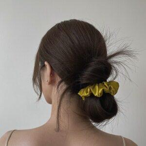 Mustard Yellow Silk Hair Scrunchies Set