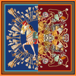 Horse And Jewelry Double-sides Print 16 Momme Silk Twill Scarf
