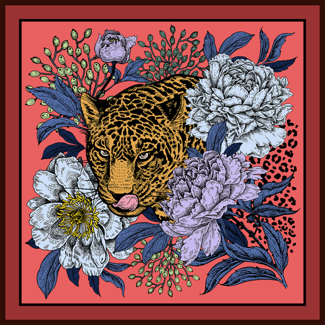 Leopard and Flower Double-sided Printing 19 Momme Silk Twill Scarf
