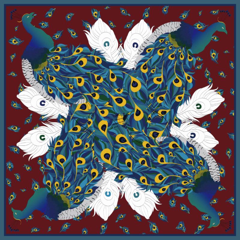 Custom Scarves Pattern-Peacocks