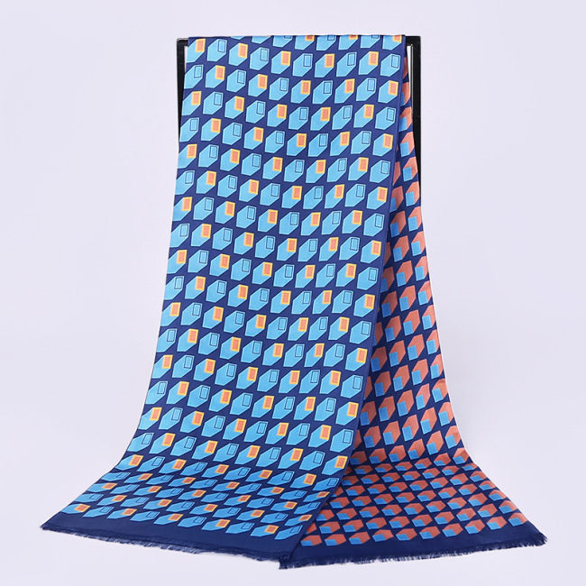 Men's Double Layer Silk Twill Long Scarf