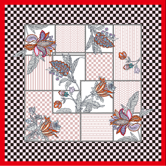 Geometric Squares Design Double-sides Print 16 Momme Silk Twill Scarf