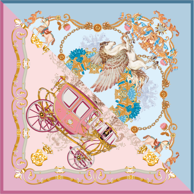 Carriage And Horse Double-sides Print 16 Momme Silk Twill Scarf