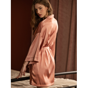 Luxury Long Sleeve Sexy Mulbury Silk Satin Robe