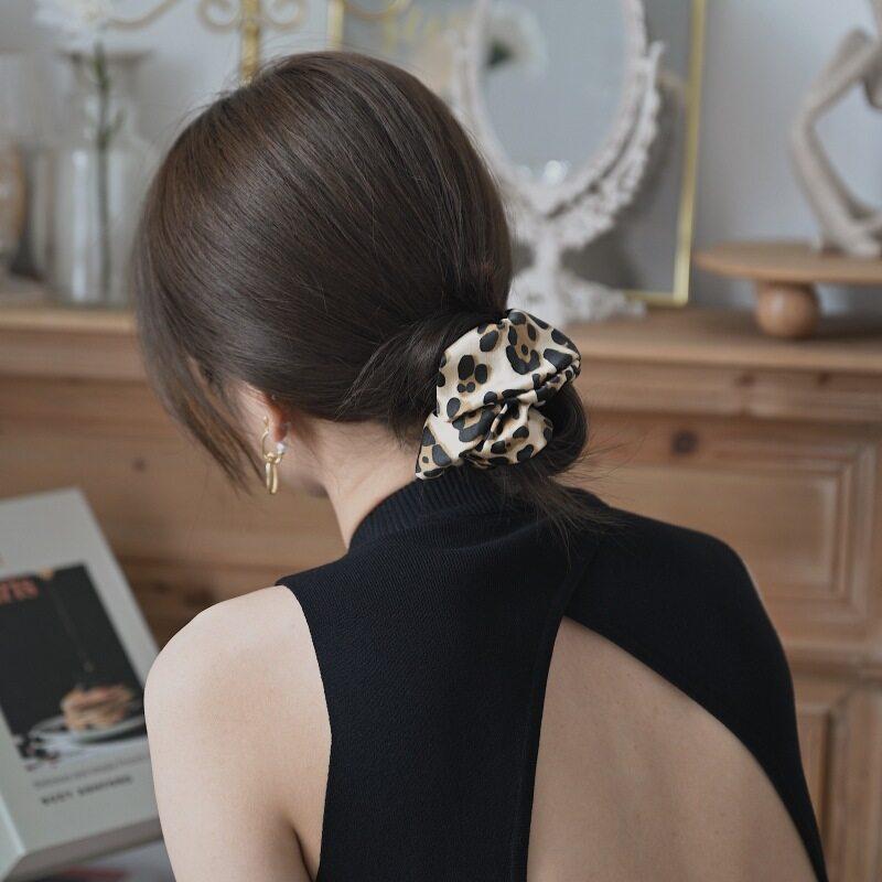 19 Momme Leopard Silk Scrunchies- 6cm Width