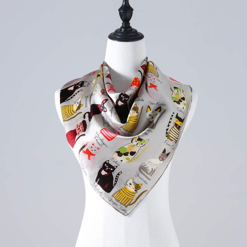 90*90cm 12mm Silk Satin Cats Print Scarf