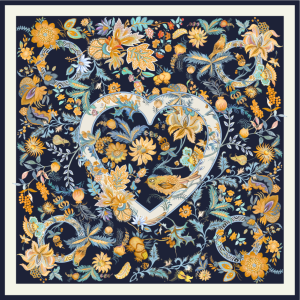 Heart And Flower Double-sided Printing 19 Momme Silk Twill Scarf