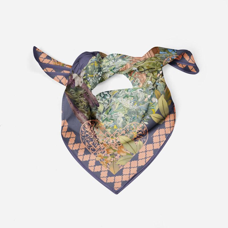 Secret Garden Design Pure Silk Twill Fabric Scarf