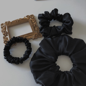 Black Color Silk Hair Scrunchies Set