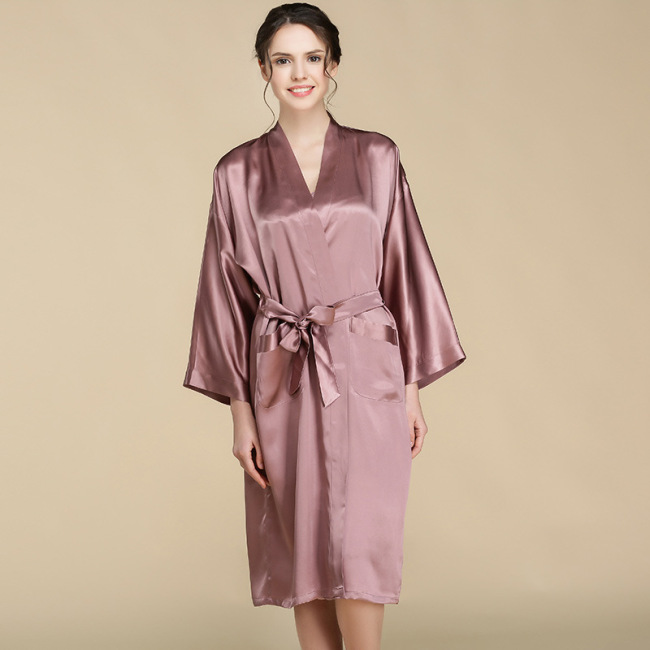 Hot Selling Comfortable Women Pure Silk Bath Robe