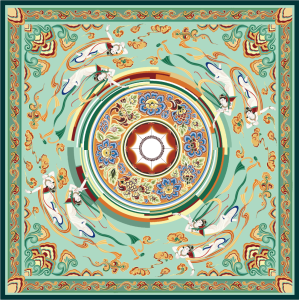 Dunhuang Style Double-sided Printing 19 Momme Silk Twill Scarf