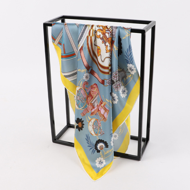 Digital Print Lady Neck Silk Scarf With Hand Rolled Edge