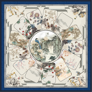 Landscape Design Double-sides Print 16 Momme Silk Twill Scarf