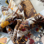 Leopard And Plants Double-sides Print 16 Momme Silk Twill Scarf