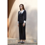 Luxury Loungewear Long Classic Black 19 Momme Mulberry Silk Pajamas Set for Her