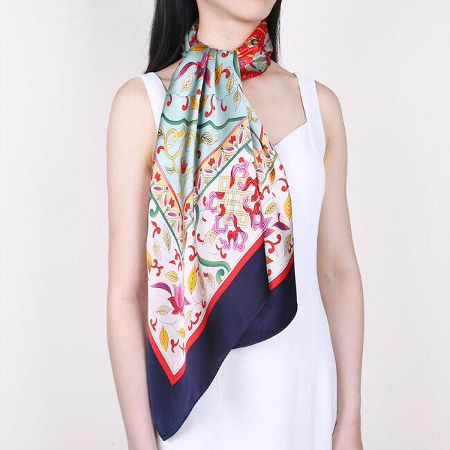 Fashion Printing Women Large Square Silk Satin Scarf