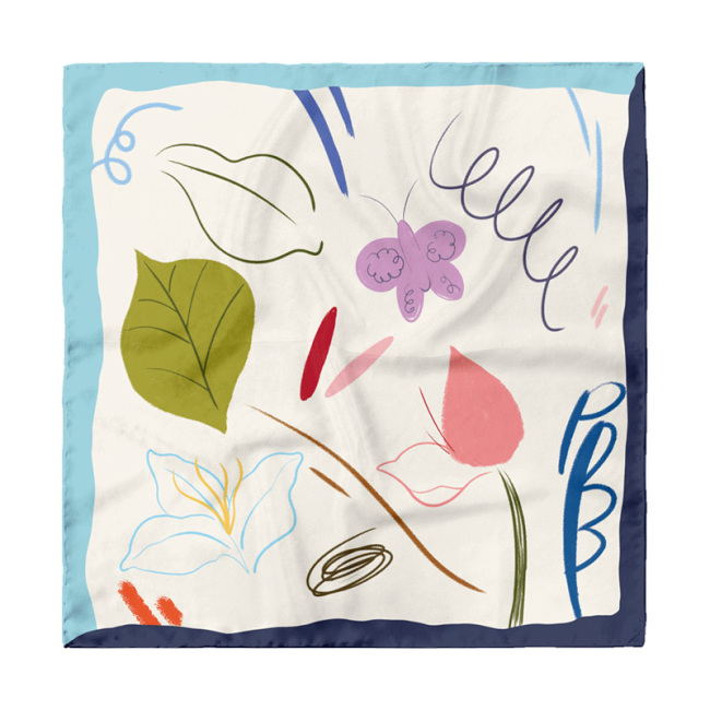 Plants Design 55*55cm Silk Square Scarf