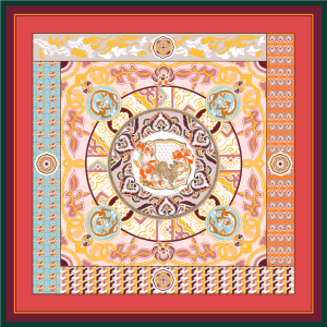 Dragon And Tiger Double Printing 19 Momme Silk Twill Scarf