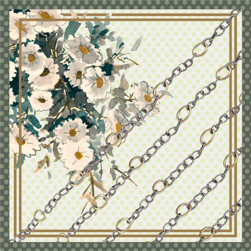Custom Scarves Pattern-Flower and Chain