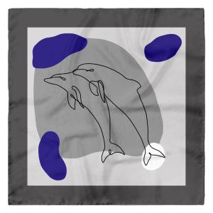 Dolphins Design Small Silk Square Scarf
