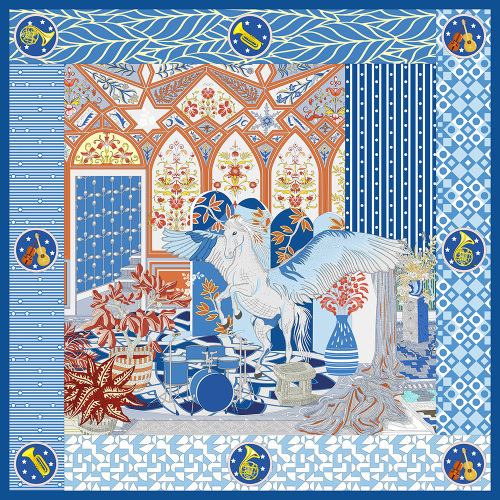 Pegasus And Palace Double-sided Printing 19 Momme Silk Twill Scarf