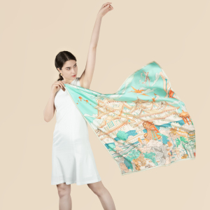 Double Sided Printing 100% 19 Momme Pure Silk Twill Scarf