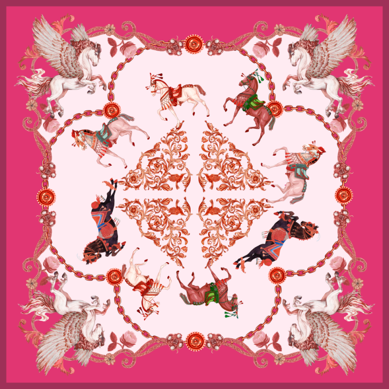 Pegasus Design Double-sided Printing 19 Momme Silk Twill Scarf