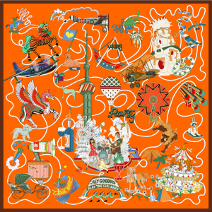 """""""Fantasy City"""" Double-sided Printing 19 Momme Silk Twill Scarf"""