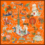 """Fantasy City"" Double-sided Printing 19 Momme Silk Twill Scarf"