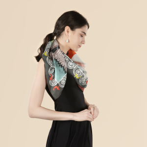 Crane And Carp Double Printing 19 Momme Silk Twill Scarf