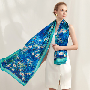 Luxury Monet Water Lily Printed 100 Percent Silk Scarf