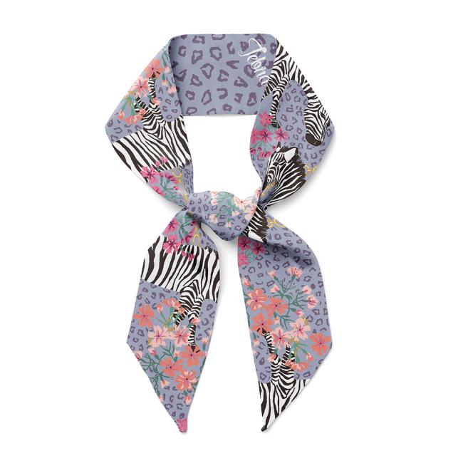 Zebra Design Silk Twill Skinny Scarf