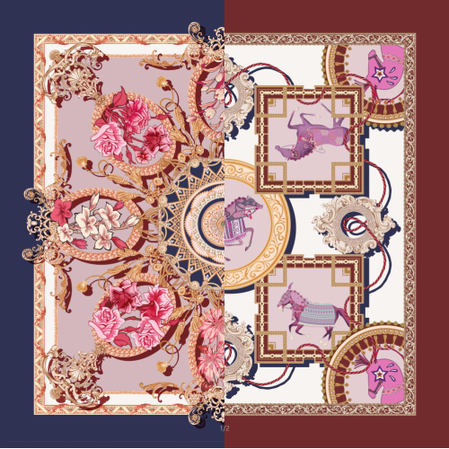Horse Design Double-sided Printing 19 Momme Silk Twill Scarf