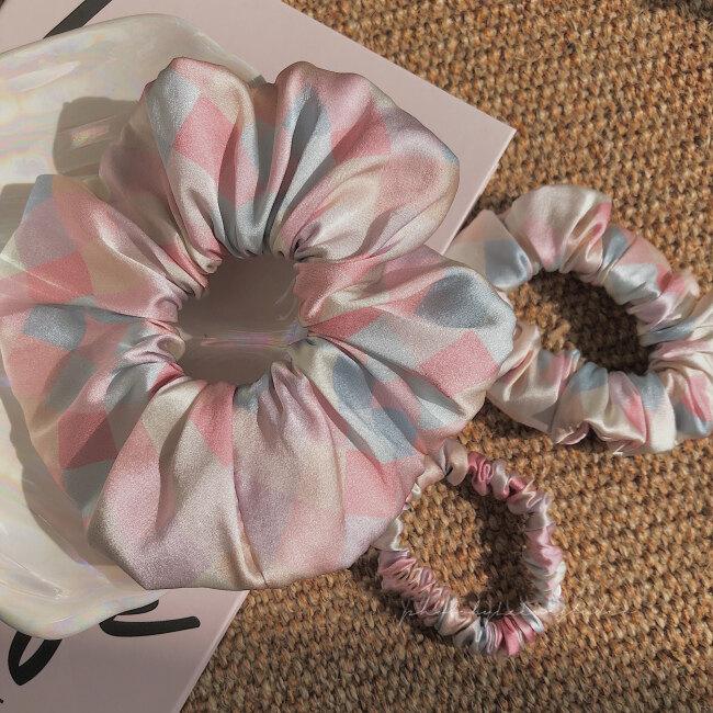 19 Momme Printing Silk Satin Scrunchies Set
