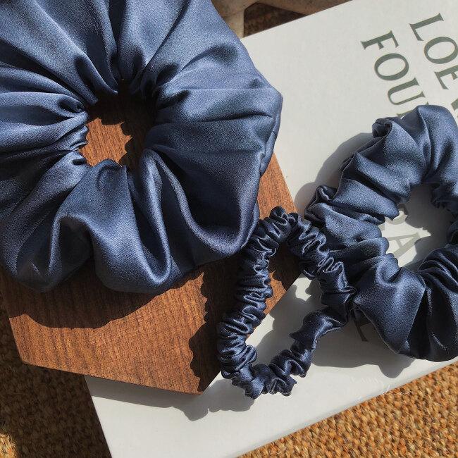 Ultramarine Silk Hair Scrunchies Set