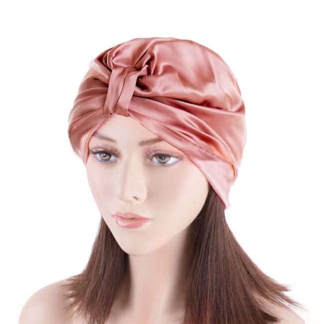 Silk Pleated Turban Bonnets for Hair