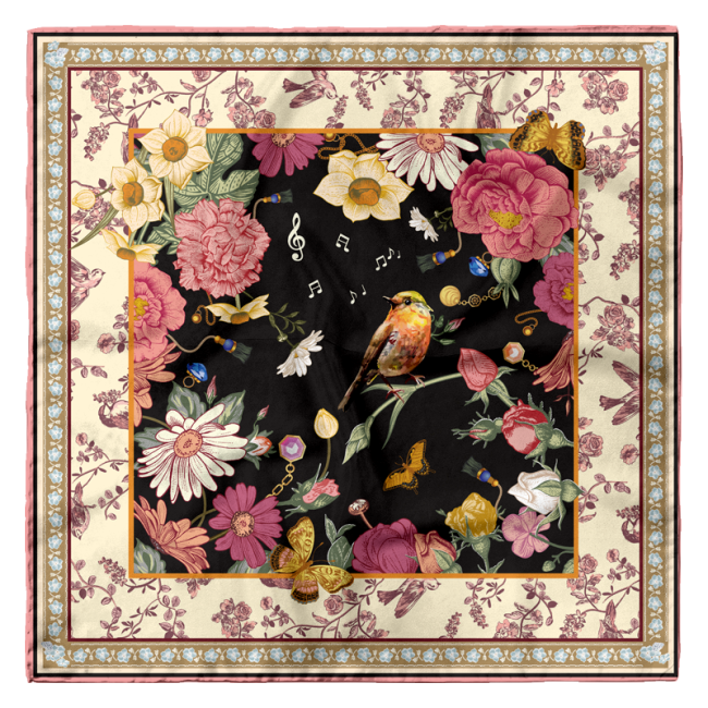 """Nightingale And Rose"" 16mm Silk Satin Scarf"
