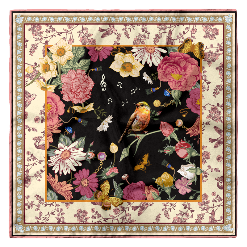 The Nightingale And the Rose 16mm Silk Satin Scarf