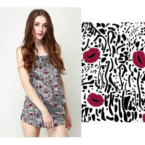 Custom Fabrics Pattern-Red Lips