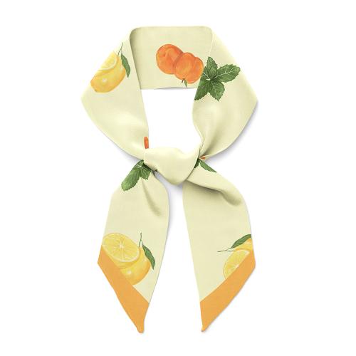 Fruit Design 14 Momme Silk Twill Skinny Scarf