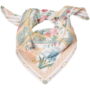 Vintage Rose Design 90*90cm 16 Momme Silk Twill Scarf