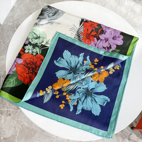 Birds And Flower Double-sides Print 16 Momme Silk Twill Scarf