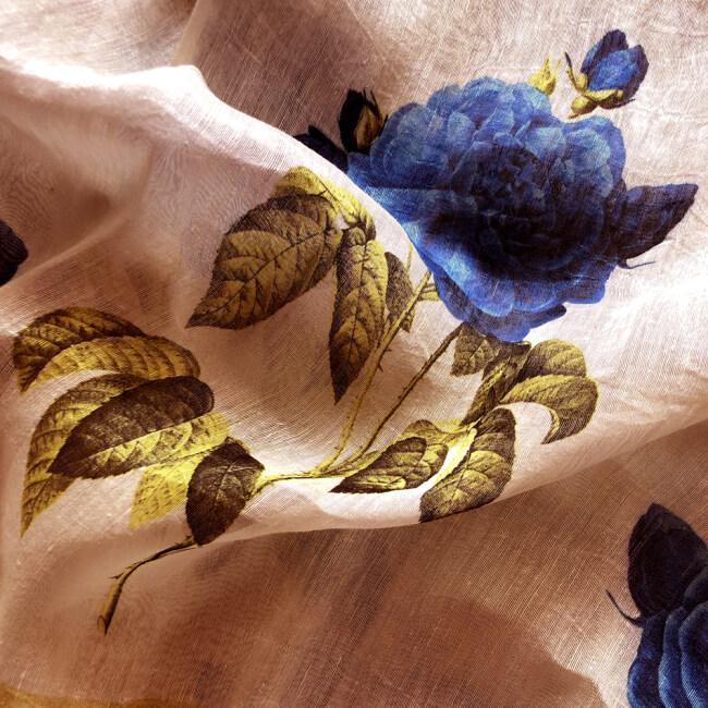 Custom Printed Silk Linen Fabrics