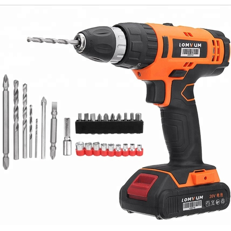 LOMVUM 20V Trigger Switch Power Tools 35Nm Cordless Drill Machine with Drill Bits and Sockets