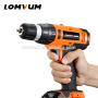 LOMVUM 20V electric rechargeable impact multi-function DC cordless drill with lithium battery