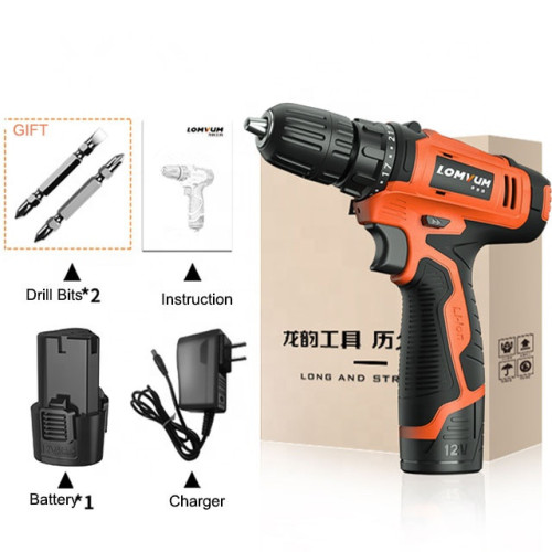 Lomvum Cheap 12V Lithium Battery Electric 2 Double Speeds Power Screwdriver